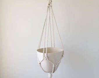 Large Hanging Planter, Includes both Porcelain Pot and Macrame Cotton Hanger