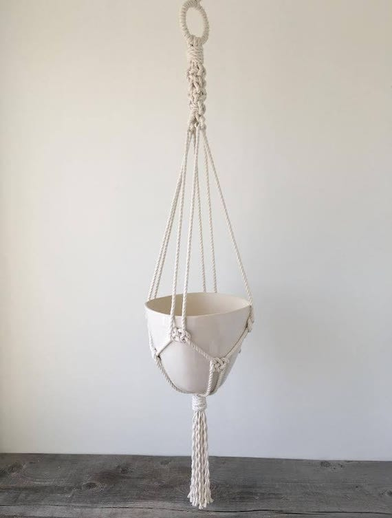 Large Hanging Planter, Includes both Porcelain Pot and Macrame Cotton Hanger
