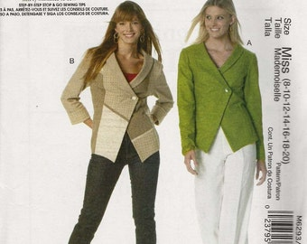 McCalls 6293 Unlined jackets shawl collar one button asymmetric jigsaw contrast fabric Size 8-10-12-14-16-18-20 Nancy Zieman (uncut)
