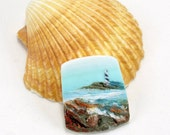 StudioStJames-Handmade Polymer Clay 32x38mm Pendant-Cabochon-Seascape-Lighthouse-Coastal Beach Nautical-Aqua Blue Turquoise Bead-PA 100303