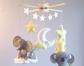 Baby mobile - clouds mobile - elephant on a cloud - elephant mobile - moon mobile - yellow and gray mobile - owl mobile