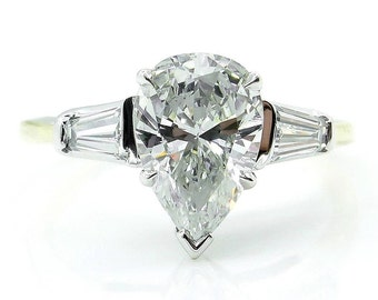 GIA 1.60ct Estate Vintage Solitaire PEAR Shaped and Baguettes Diamond Engagement, Anniversary Platinum 18KYG Ring