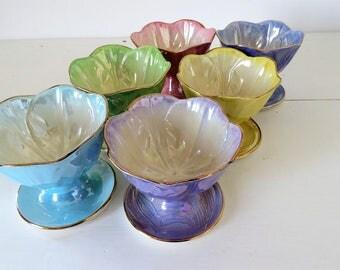 Vintage Maling Ware, Harlequin Lustre, Bowls x 6, COURIER