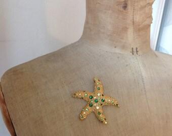 Vintage Starfish brooch green Rhinestone Beach exotic