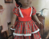 18 inch Girl Doll Clothes Addy Kirsten Samantha Christmas Dress and Hairbow