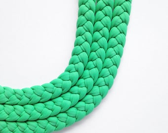 summer choker, pastel colors, statement necklace - The triple braid necklace - handmade in pastel green fabric