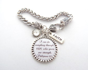 Bible Verse Charm Bracelet, Scripture Jewelry, Encouragement Faith Strength Phillipians 4:13, Inspiration I can do all things through Christ