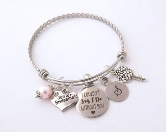 Junior bridesmaid Bracelet, Gift for Jr Bridesmaids, Couldn't say I do without you Children's Jewelry  Wedding Charm  Junior Bridesmaid Gift