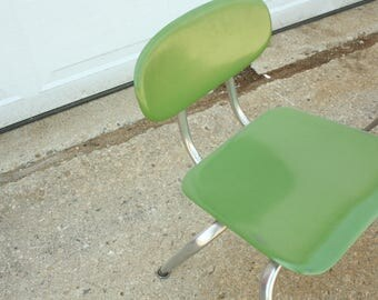 Green Plastic and Steel Kid's Chair, Furniture, Toy Room, Play Room, Vintage School Chairs, School, Chair, Green Children's Room,