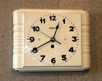 Large Ceramic Wall Clock - Vedette Clock - Art Deco Wall Clock - Vintage  Recycled Wall Clock