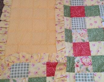 Ruffled baby quilt, yellow baby blanket, green orange yellow baby quilt, flannel blanket, ready to ship