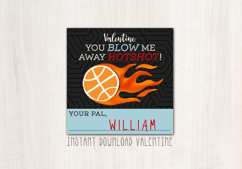 Basketball HotShot Valentines - DIY Print - INSTANT DOWNLOAD