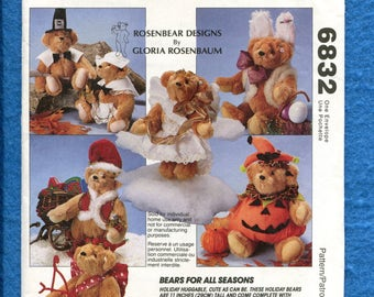 McCalls 6832 Bears with Holiday Costumes UNCUT