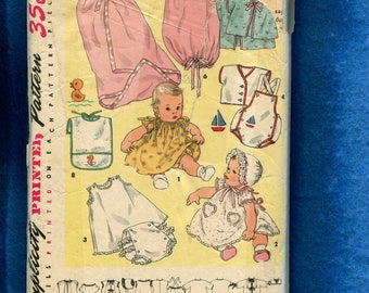 1950's Simplicity 1443 Classic Baby Layette Pattern Size Infant Babies