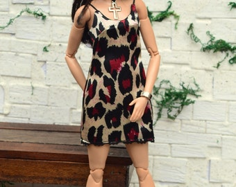 Animal-print Satin Mini Slip Dress for Barbie Made to Move, Poppy Parker and similarly-sized dolls