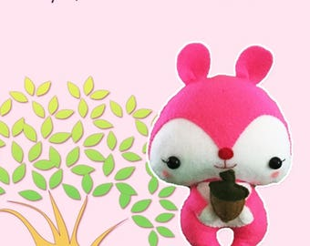 Pinky Squirrel 9 inches - Felt, pdf sewing pattern