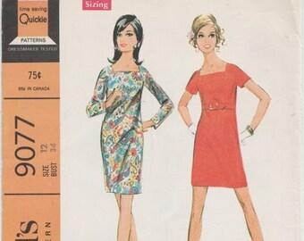 60s Simple Dress Pattern McCalls 9077 Size 16 Uncut