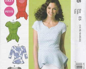 Darling Peplum Blouse Pattern McCalls 7126 Sizes 14 - 22 Uncut