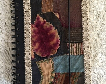 Crazy Quilt Covered Vinyl Lined Black and Tan Spiral Bound Journal Book.  Handmade Gimp Trimmed Crazy Patch Cover Gold Edged Notebook.