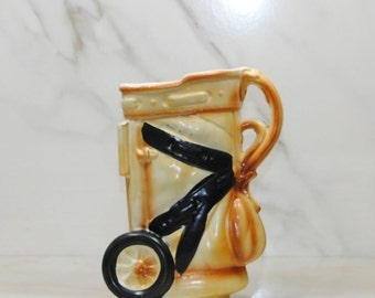 Vintage Ceramic Golf Bag Planter, Golf Bag Mug, Hand Painted, Golf Collectible, Golfing, Golf Glass,  Golf Ball and Tee, Sports, Golfer
