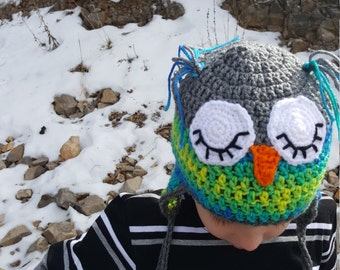 Crochet Sleepy Owl Hat, Child Size Owl Hat, Blue, Green, Grey, Winter Hats for Kids, Sleepy Owl, Bird Hats, Animal Crochet Hat, Crochet Owl