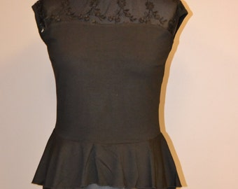 Tango Top with Lace, Black Tango Top, Lace and Jersey Tango Tee, Tango Peplum Top, Floral Lace Top
