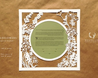 Wildflowers papercut ketubah | wedding vows | anniversary gift