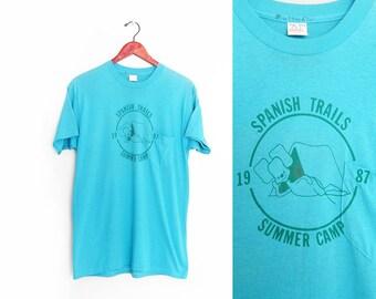 vintage t shirt / summer camp / camping / thin / 1980s turquoise Summer Camp pocket t shirt Medium