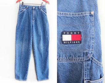 vintage Tommy Jeans / Tommy Hilfiger / carpenter jeans / 1990s Tommy Hilfiger high waist carpenter jeans 26