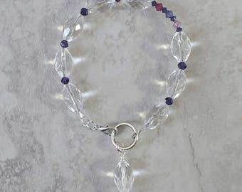 Handmade crystal clear glass beaded bracelet with pink/purple Swarovski crystals, ready to ship, free shipping, gift ready, made in Montana