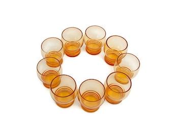 Vintage Amber Shot Glasses Gold Cordials Set of 9 Blown Glass Liquor Glassware Retro Barware Art Deco Glass