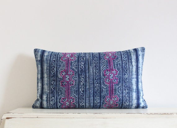 "Vintage indigo batik and embroidered Hmong pillow cushion cover 12"" x 20"""