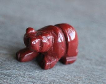 Red Jasper Bear Figurine F107