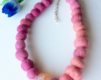 Felted Balls Necklace Felt Jewelry Pink Necklace Felt Bead Necklace