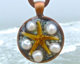 Mini Starfish Positive Energy Pendant with Pearls and Amazonite. EMF Protection.