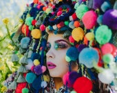 READY TO SHIP Pan inspired colorful Pom Pom  headpiece headdress