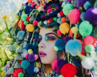 READY TO SHIP Pan inspired colorful Pom Pom  headpiece headdress
