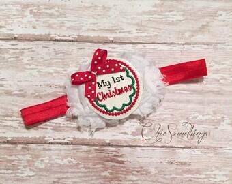 First Christmas headband, my 1st christmas bow, 1st christmas headband, christmas bow, my first christmas headband, my 1st christmas bow