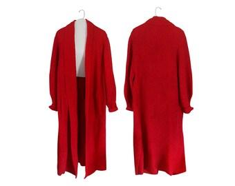 Long Cardigan Sweater Plus Size Sweater Long Sweater Coat Red Cardigan Red Sweater Maxi Cardigan 80s Sweater Maxi Sweater Oversize Cozy