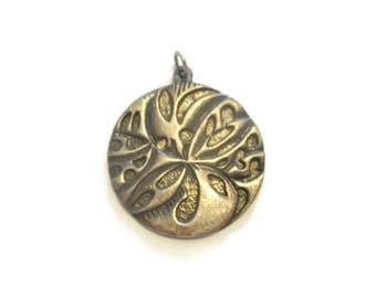 Vintage Pewter Floral Medallion Pendant