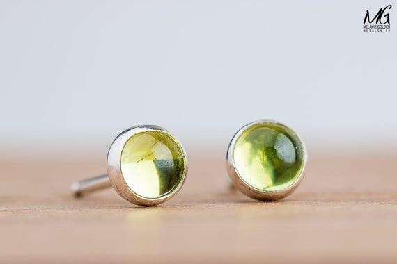Lime Green Peridot Gemstone Post Stud Earrings in Sterling Silver