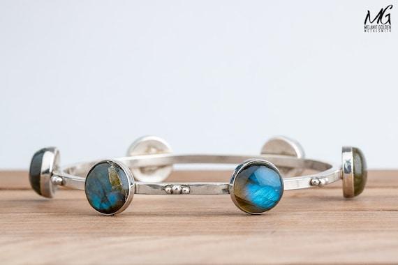 Blue fire Labradorite gemstone bangle bracelet in solid Sterling Silver - Big blue bracelet - Gift for her - Stacking stackable bangle