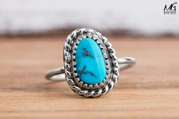 Midi Ring - Morenci Turquoise Gemstone Midi Ring in Sterling Silver - Size 3.75