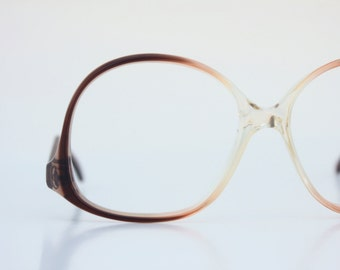 Vintage 70's Dark Brandy Fade Drop Arm Eyeglasses Frames