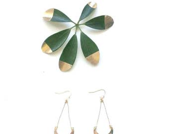 """Pendant fringe earrings, Golden, Half Moon and gold plated 22 k high quality french hooks  """"Lunes"""""""