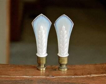 PAIR Aladdin Alacite Glass Finials Wheat 1940s