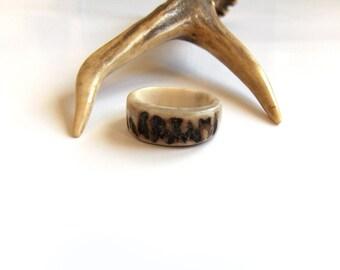 Antler Ring, Deer Antler Ring, Unique Wedding Band, Rustic Jewelry, Womens Rings, Boho Bone Ring, Natural Jewelry, Handmade by MariyaArts