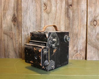 Antique Camera Unmarked Large Black Film Photograhy Camera Collection Display Home Decor Vintage 1920s 20s (LH)
