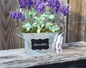 English Lavender Bouquet Galvanized Chalkboard Tub Bucket Farmhouse French Shabby Cottage Style Moss English Garden Wedding Spring Easter