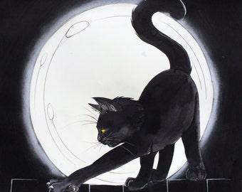 Halloween Cat Poster Print
